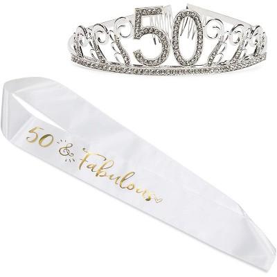 50th Birthday Tiara And Sash 50 Fabulous Satin Sash And Rhinestone Tiara Crown Set For Party Supplies Cake Topper Target