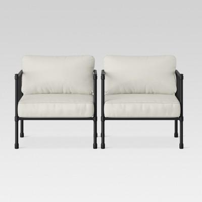 fernhill 2pk metal patio club chair linen threshold