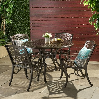 hallandale sarasota 5pc cast aluminum patio dining set bronze christopher knight home
