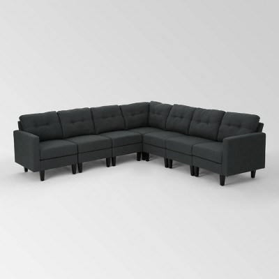 7pc emmie mid century modern extended sectional sofa dark gray christopher knight home