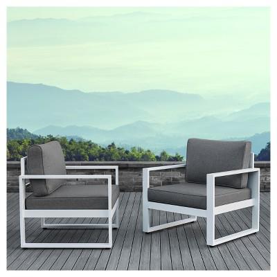 baltic 2pc metal patio chair set white real flame