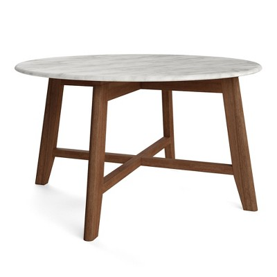 31 5 elysian coffee table with faux marble top walnut aeon