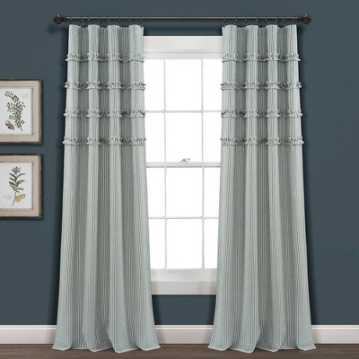 set of 2 84 x40 vintage stripe yarn dyed cotton light filtering window curtain panels denim blue white lush decor