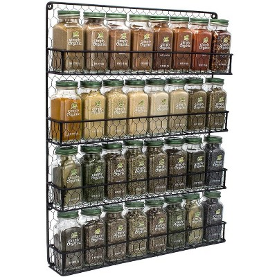 sorbus 4 tier black wall mounted spice rack storage organizer spices not included
