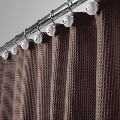 mdesign waffle weave fabric shower curtain 72 long chocolate brown