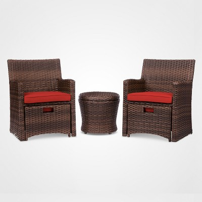 halsted 5pc all weather wicker outdoor patio chat set red threshold