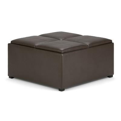 franklin square coffee table storage ottoman chocolate brown wyndenhall