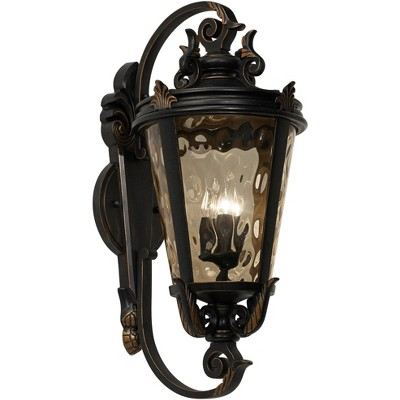 john timberland traditional outdoor wall fixture veranda bronze ornate scroll 36 champagne hammered glass for exterior porch