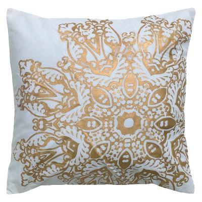 18 x18 metallic medallion textured throw pillow gold rizzy home