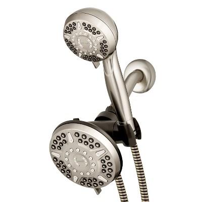 6 6 power pulse dual shower head brushed nickel waterpik