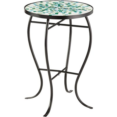 teal island designs aqua mosaic black iron outdoor accent table