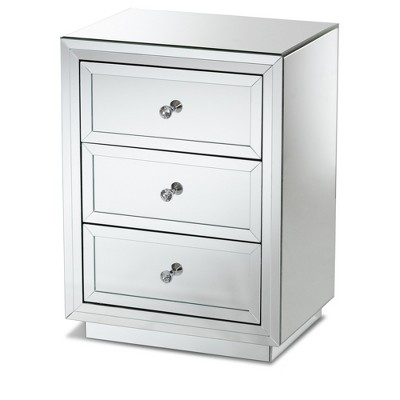 lina mirrored 3 drawer nightstand bedside table silver baxtonstudio