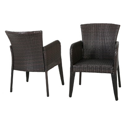 anaya set of 2 wicker patio dining chair brown christopher knight home