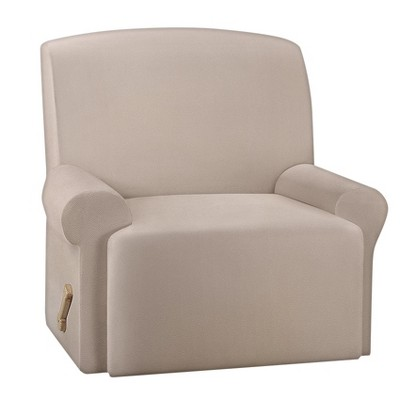 ultimate stretch leather recliner slipcover pebbled ivory sure fit