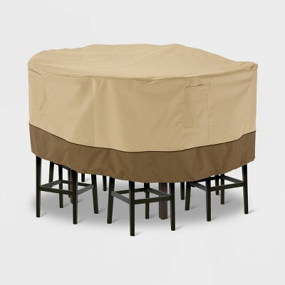 veranda tall round patio table chair set cover light beige l classic accessories