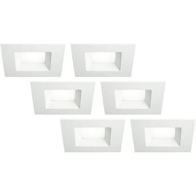 tesler 6 white square retrofit 15 watt led recessed lights 6 pack