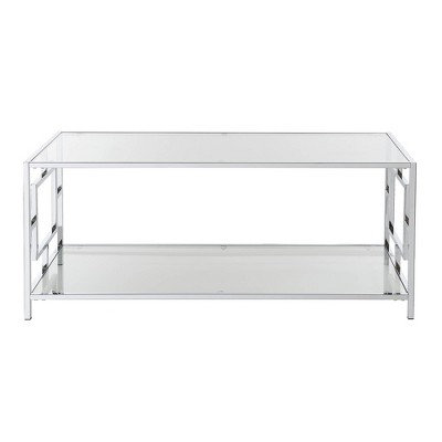 town square chrome coffee table clear glass chrome frame breighton home