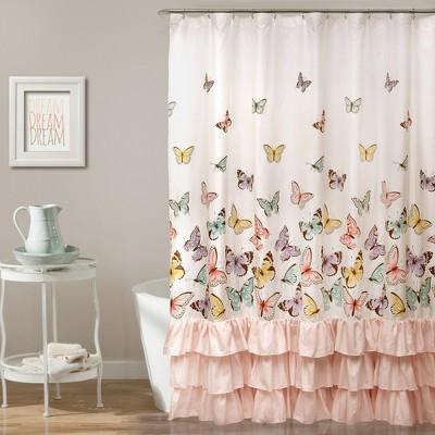 flutter butterfly shower curtain pink lush decor