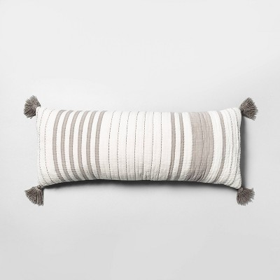 oversized striped lumbar throw pillow gray cream hearth hand with magnolia