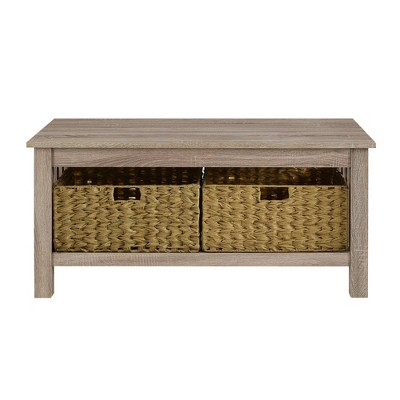 40 wood storage coffee table with totes driftwood saracina home