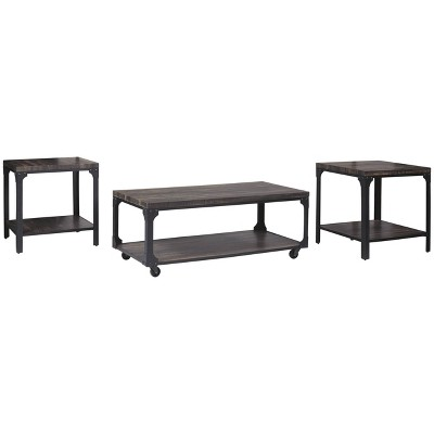 3pc jandoree coffee and end table set brown black signature design by ashley