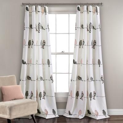 Rowley Birds Room Darkening Window Curtain Panels BlushGray Set 52X842 Lush Decor Target