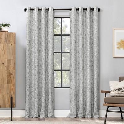 84 x50 celina organic leaf light filtering grommet top curtain panel gray scott living