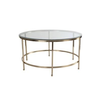 addison round glass coffee table gold adore decor