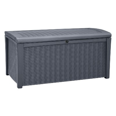 keter borneo outdoor resin deck storage box bin organizer for patio furniture cushions and pool toys with wicker rattan design 110 gallon grey