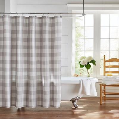 farmhouse living buffalo check shower curtain 72 x 72 gray white elrene home fashions