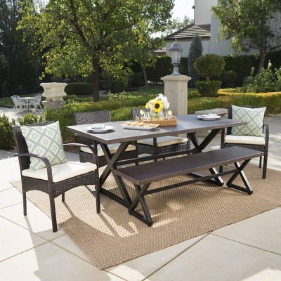 palermo 6pc aluminum wicker patio dining set brown christopher knight home