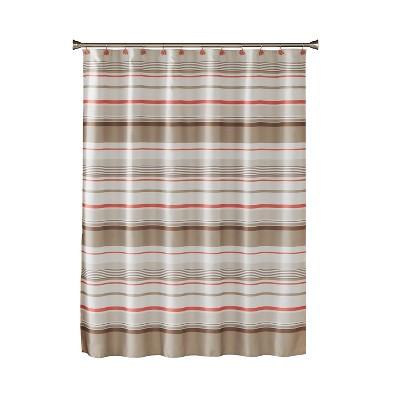 coral garden stripe shower curtain tan saturday knight ltd
