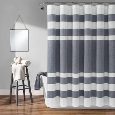 cape cod stripe yarn dyed cotton shower curtain navy white lush decor