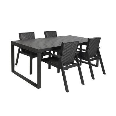 78 x29 metal resin rectangular patio dining table with cover black olivia may