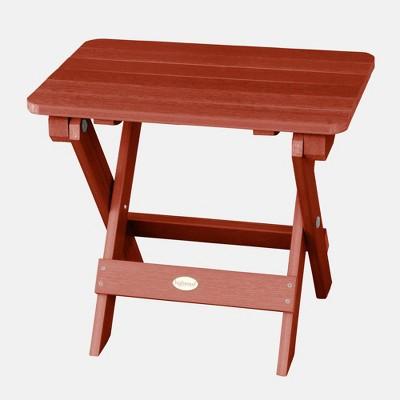 adirondack folding patio side table rustic red highwood