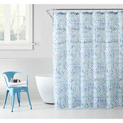 yasmin shower curtain blue peach oak