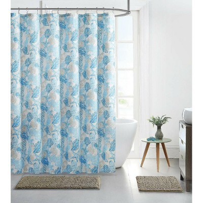 kate aurora hampton bay beachside blue seashells corals fabric shower curtain