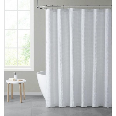 hotel collection premium waffle weave fabric shower curtain by kate aurora white