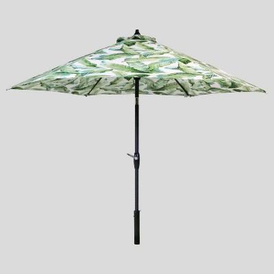 9 round vacation tropical patio umbrella duraseason fabric green black pole threshold