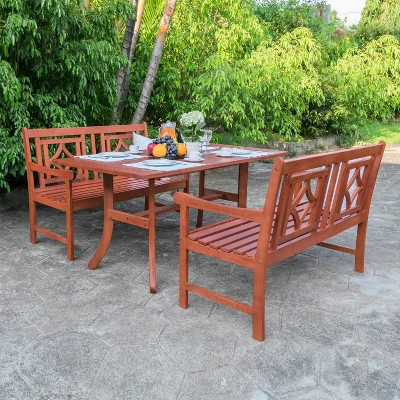 malibu 3pc wood outdoor patio dining set tan vifah
