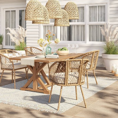morie farmhouse wood rectangle dining table natural threshold