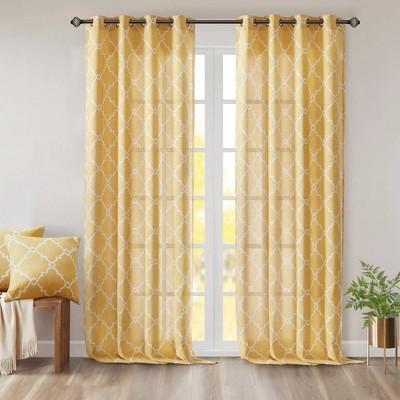 63 x50 sereno fretwork print light filtering curtain panel yellow