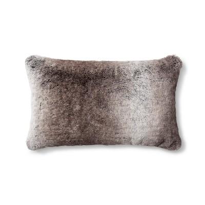 neutral faux fur oblong throw pillow threshold