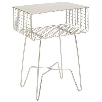 mdesign modern farmhouse home decor end table metal wire storage shelf satin