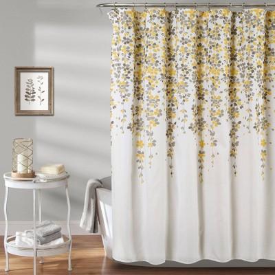 weeping flower shower curtain yellow gray lush decor