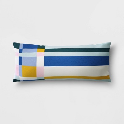 lumbar outdoor throw pillow blue white yellow project 62