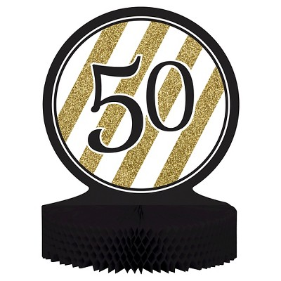 Black Gold 50th Birthday Centerpiece Target