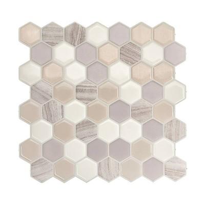 smart tiles 3d peel and stick backsplash 4 sheets of 9 76 x 9 35 kitchen and bathroom wallpaper hexagon greige