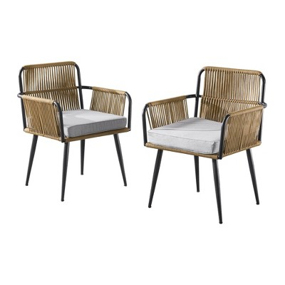 alburgh 2pc outdoor rope chairs with cushions gray beige alaterre furniture