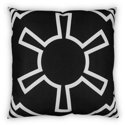 star wars white imperial symbol 25 x25 black square outdoor pillow
